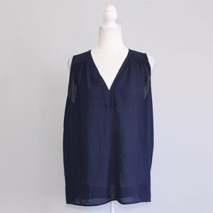 $5 Pleione Navy Blue V Neck Cinched Shoulder Top M